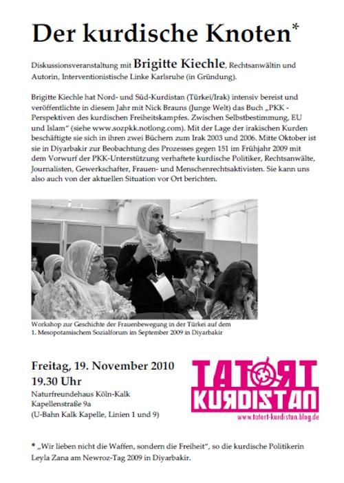 TATORT Kurdistan Koeln Veranstaltung 101119